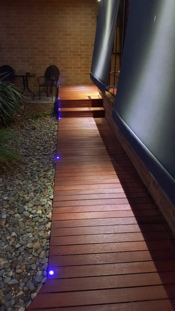 blue led lights installed on front footpath in melbourne home